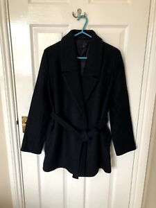 Ladies-COS-Black-Navy-belted-Mid-length-Coat-JACKET-Great-Condition