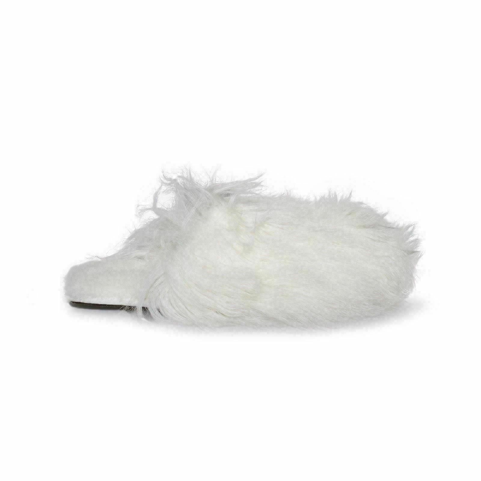 304cac847f6 UGG Womens Fluff Momma Mongolian Clogs White Size 10 Scuff Fur Slippers  1019726