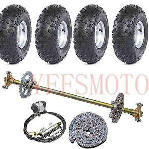 Rear-Axle-Brake-Disc-Sprocket-Hub-145-70-6-034-wheel-rim-tires-Chain-Quad-ATV-Bike