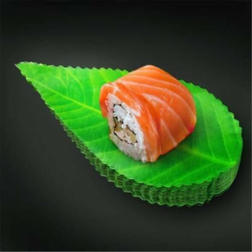 200 Pcs Plastic Sushi Serving Platter Tray Leaves Shape Tray Plate Decor LD