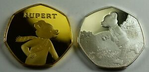 Pair-of-RUPERT-THE-BEAR-Silver-Gold-Commemorative-Coins-Albums-50p-Collectors
