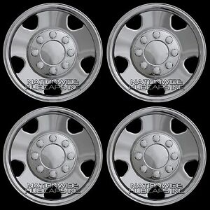 2005-06-07-Ford-F250-F350-17-034-Chrome-Wheel-Skins-8-Lug-Full-Rim-Covers-Hub-Caps
