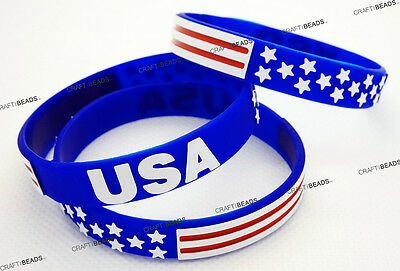 Silicone Wristband Bracelet Independence Memorial Veterans Day American Flag