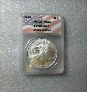 2010 USA SILVER DOLLAR, EAGLE, WALKING LIBERTY  GRADED ANACS MS70 GEM