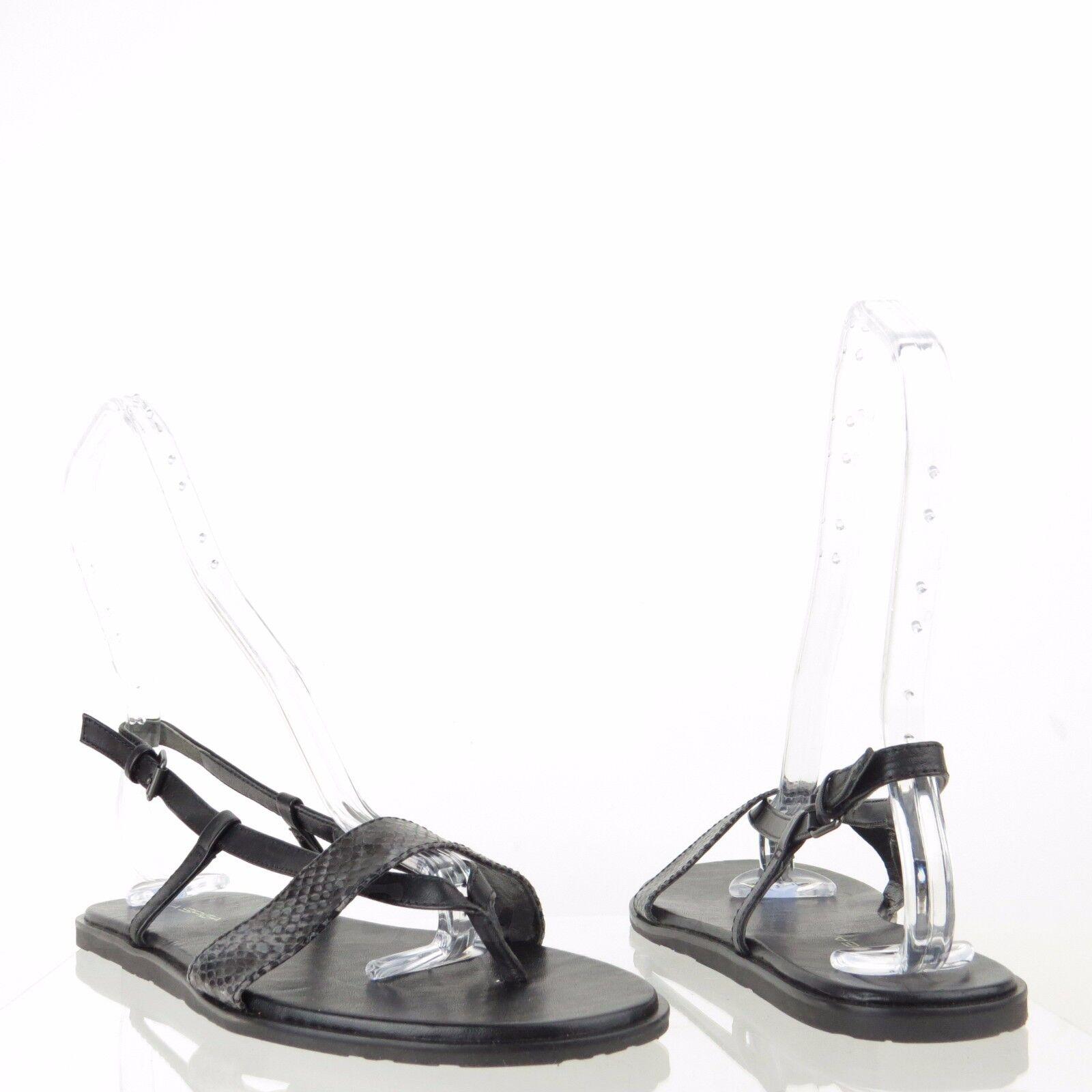 Via Spiga Alena Womens shoes Black Leather Snakeprint Thong Sandals Sz 8.5 M NEW