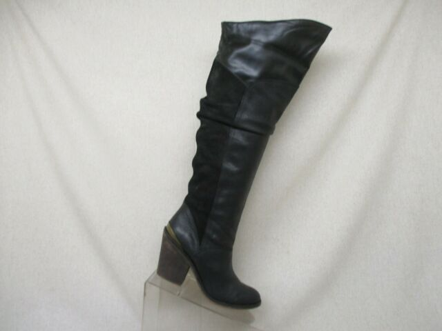 Lucky Brand Black Suede Leather Over The Knee Fashion Riding Boots Size 6 M GUC