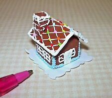 Miniature Christmas Gingerbread House, Candy Roof for DOLLHOUSE, 1/12 Scale