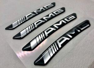 Details Zu Mercedes Amg 19 Felgen Abzeichen Logo 3d Gewölbte Aufkleber Schwarz Silber