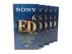 5 NEW Sony ED MAX T-120 6 Hour Blank VHS Tapes Video Cassette VCR Tape Lot