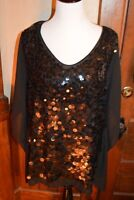 Colleen Lopez My Favorite Things Black Sequin Butterfly Top W/ Camisole