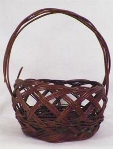Antique Sewing Basket Wicker Brown Handle Large Victorian Open Weave AS IS COND