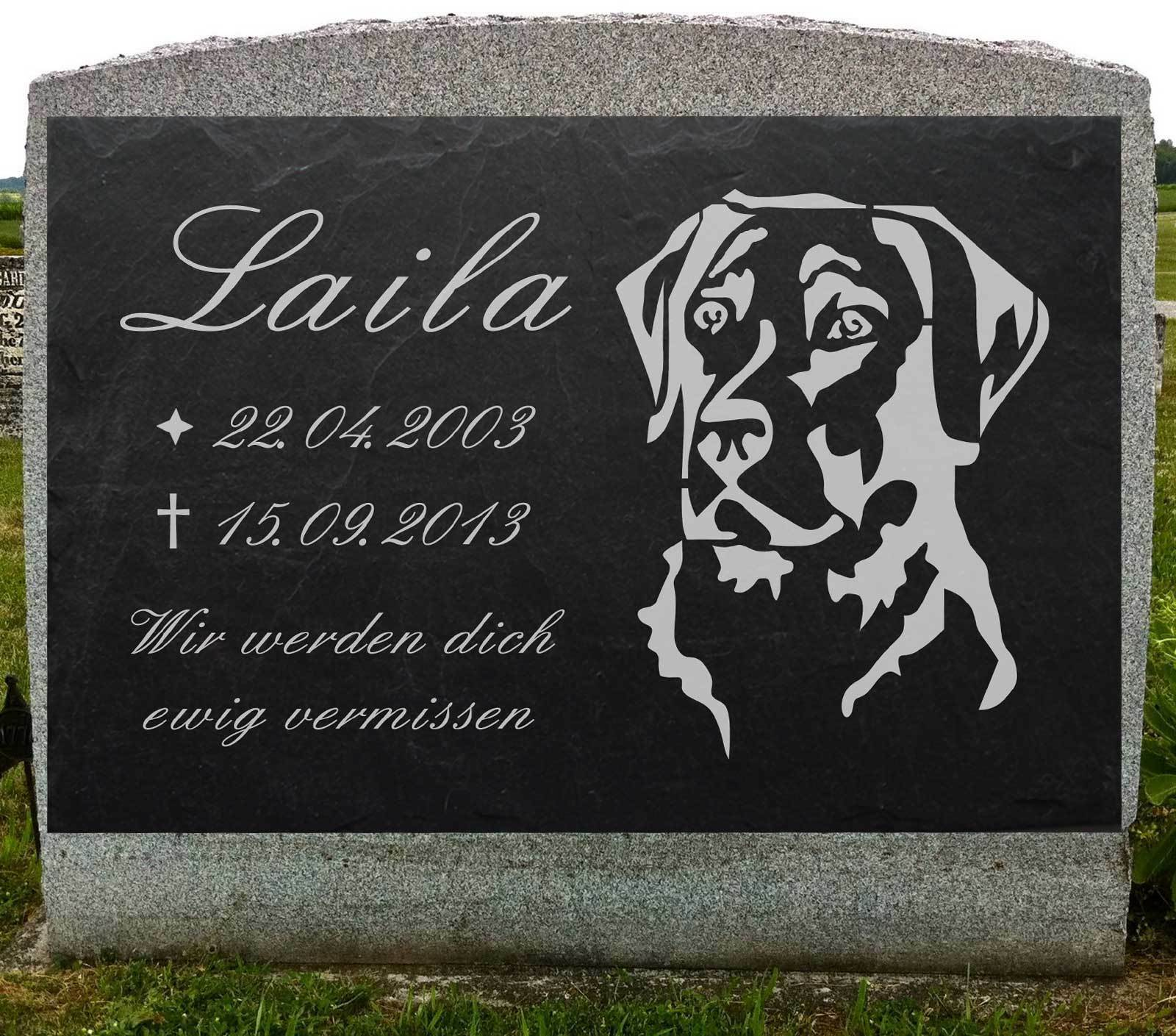 Labrador HUNDEGRABSTEIN Grabschmuck HUND-012 ► IHR TEXT ◄ Lasergravur 50 x 30 cm