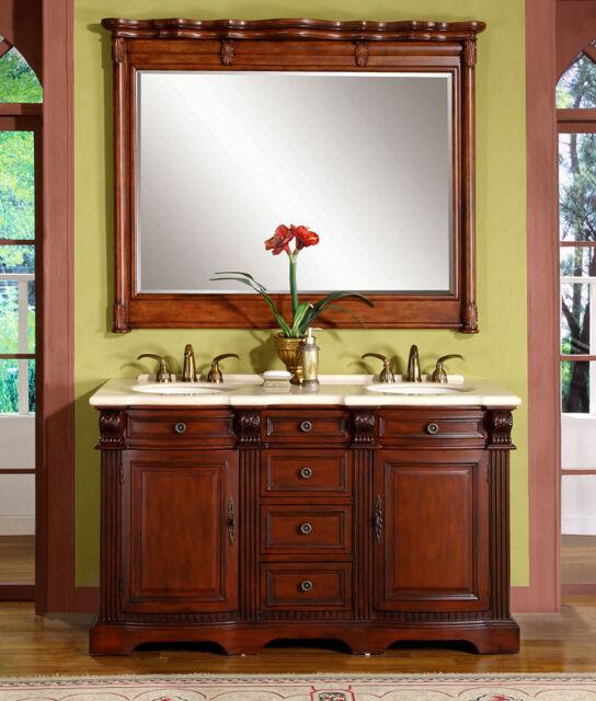 Buy 58 Inch Marble Stone Top Bathroom Double Sink Vanity Lavatory