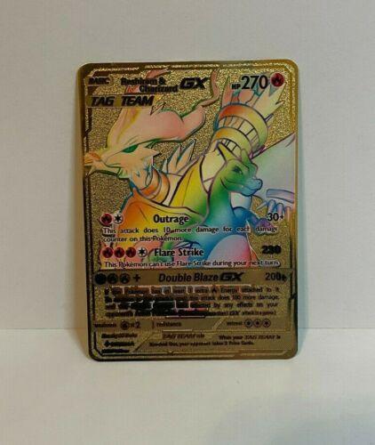 Reshiram & Charizard GX Hyper Rare Unbroken Bond Gold Metal Pokemon Card Custom