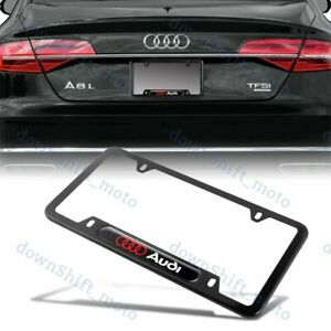 2PCS Car License Plate Frames for Cadillac Luxury Auto Matte Black Aluminum Alloy License Plate Frame Covers for Cadillac Vehicles