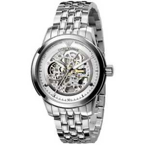 New-Mens-Emporio-Armani-AR4626-Meccanico-Automatic-Polished-S-Steel-Silver-Watch