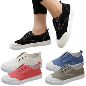 Womens-Denim-Canvas-Loafers-Pumps-Casual-Slip-On-Flat-Sneakers-Trainers-Shoes-US