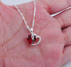 WINSOME 925 Sterling Silver 2-Heart Necklace garnet Pendant 20mm*17mm S308