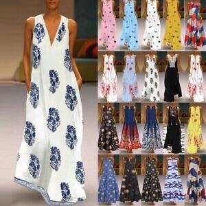 Women-039-s-Sleeveless-Summer-Kaftan-Plus-Long-Maxi-Dress-Beach-Party-Shirt-Sundress