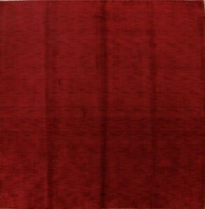 Details About Solid Red Modern Square 8x8 Gabbeh Oriental Hand Knotted Area Rug Wool Carpet