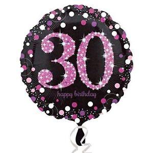 Pink Celebration 30th Birthday Balloon Sparkle Black Birthday Party