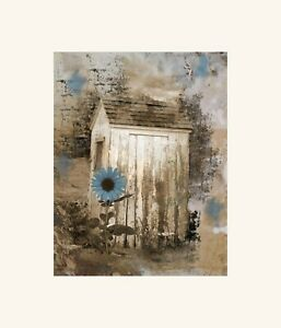 Rustic Brown Blue Vintage Outhouse Sunflower Farmhouse Bathroom Wall Art Picture Ebay