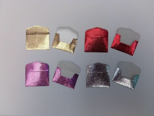 Metallic Textured Foil//Glitter Lace Edge with or w//o notelets Mini Envelopes
