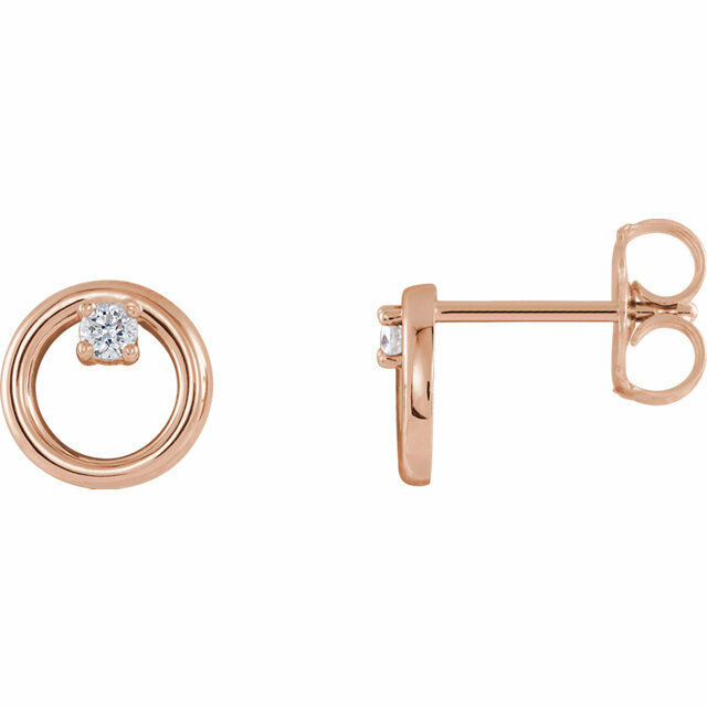Diamond Circle Earrings In 14K pink gold