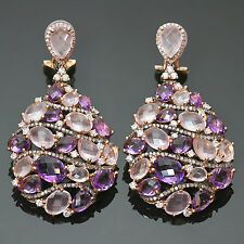 MANFREDI Laser-Cut Amethyst Diamond 18k Yellow Rose Gold Drop Earrings
