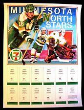 1985-86 MINNESOTA NORTH STARS 7-11 FIRE SAFETY CARD SET DISPLAY POSTER
