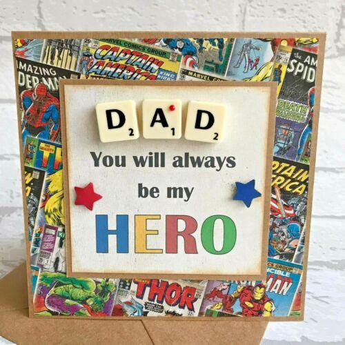 Dad Handmade Happy Birthday Hero Scrabble Tile Card Hero card Daddy other