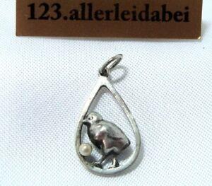 alter-Charm-Kuken-Anhanger-800-Silber-Charms-Kuken-mit-Perle-BM-459