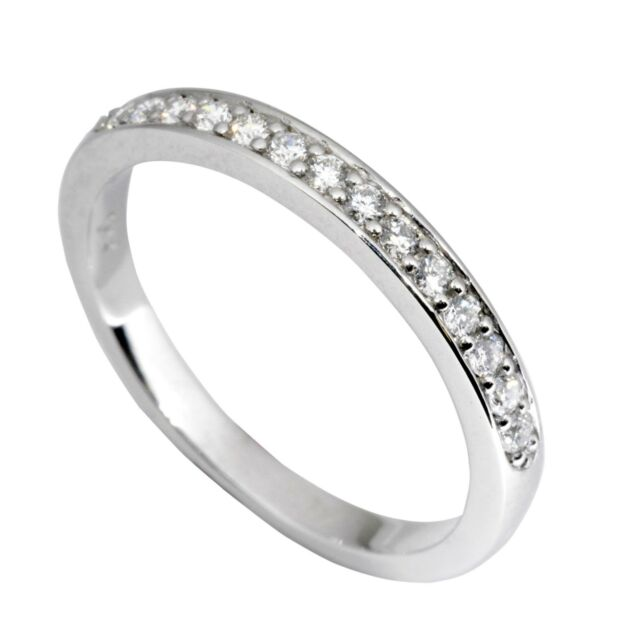 Traditional Bridal 14K White Gold Wedding Band with 0.22ct Diamonds