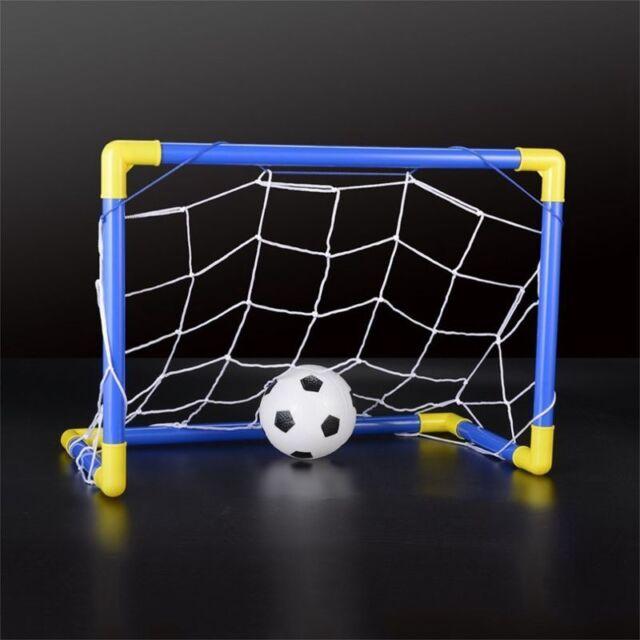 Indoor Mini Folding Football Soccer Ball Goal Post Net Set+Pump Kids Sport P1T7