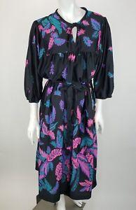 Details about VTG Deadstock Sears Muumuu Plus Size 20.5 Black Pink Purple  Feathers House Dress