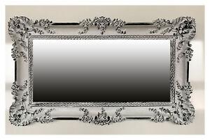Dettagli su Specchio da Parete Bianco Nero 96x57 Antico Barocco Shabby Chic  in Stile