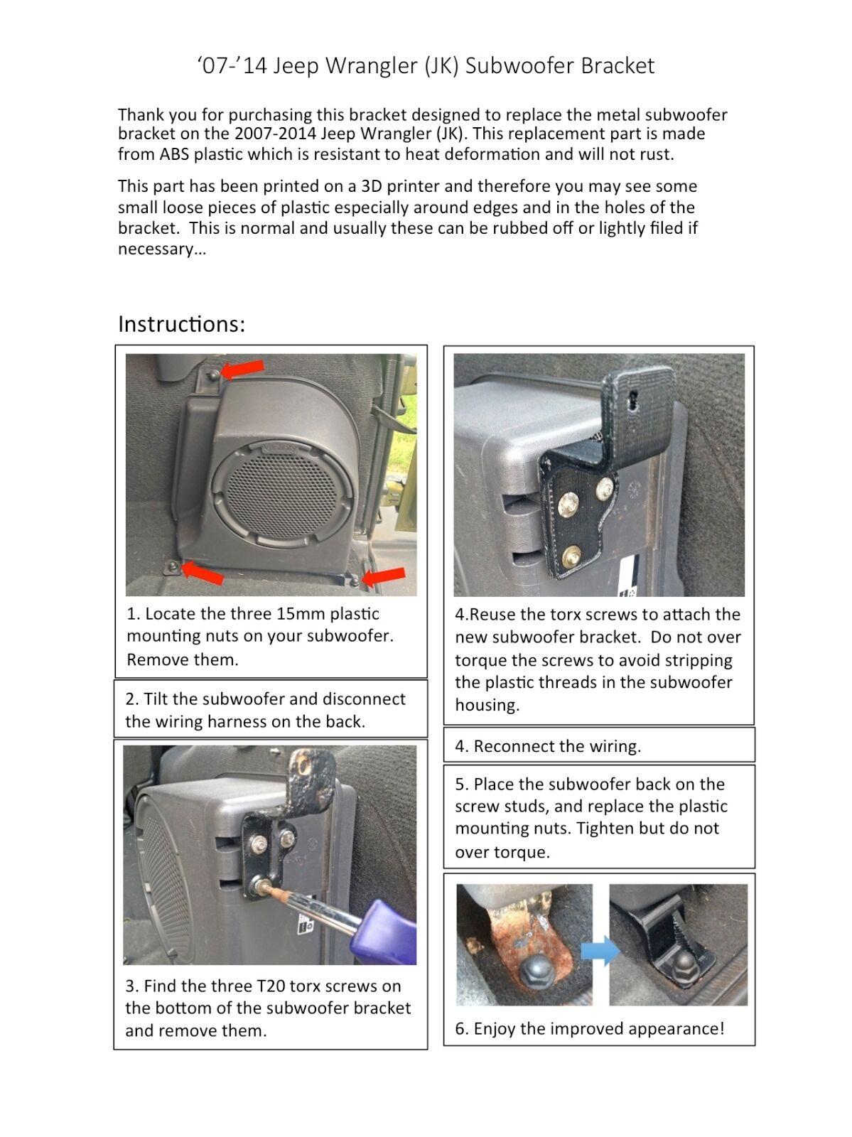 Jeep Wrangler Jk Subwoofer Bracket 2007 2010 Plastic Oem Replacement 2014 Wiring Harness Ebay