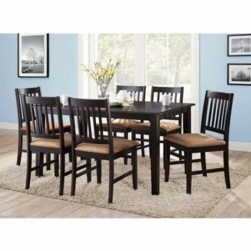 7pc Espresso Dining Room Kitchen Table Set Microfiber Parson Chairs Seats 6