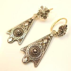 Vintage-antique-filigree-gold-and-silver-earrings