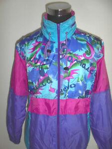 vintage-90s-SHAMP-Nylon-Jacke-Regenjacke-90er-rain-jacket-new-wave-oldschool-L