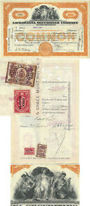 100 Shares Lackawanna Securities Company 1927, With 2 Rare Stock Transfer Stamps