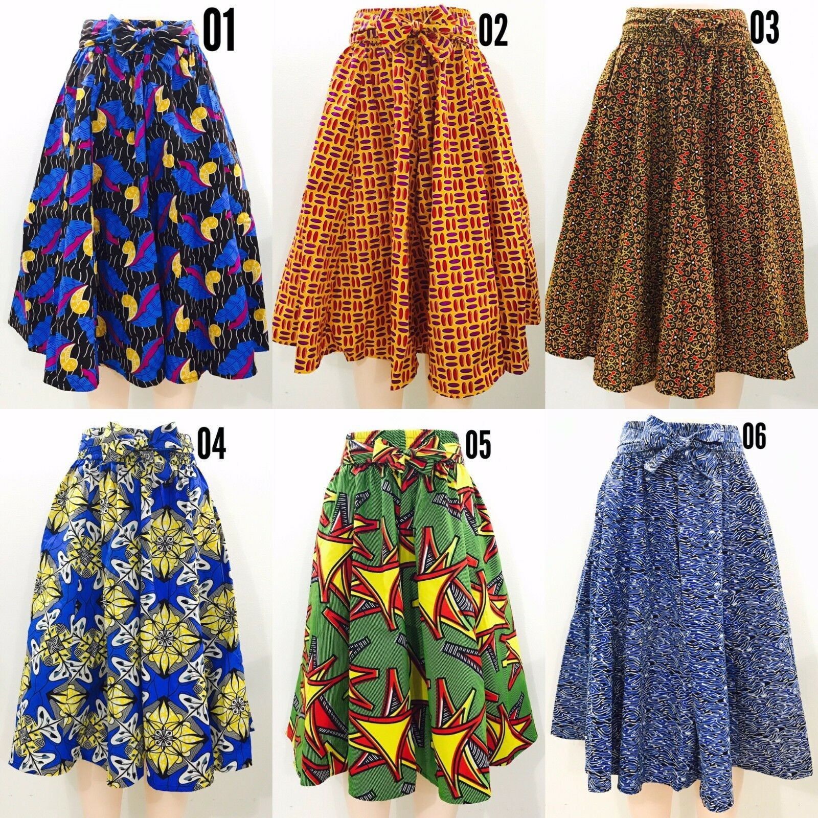 Women's Printed African Midi Skirt WITH POCKETS One Size + HEADWRAP