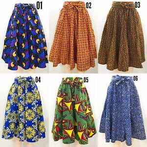 Women S Printed African Midi Skirt With Pockets One Size