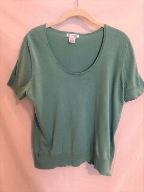 JG Hook Womens Short Sleeve Knit Sweater Teal Cotton Size XL
