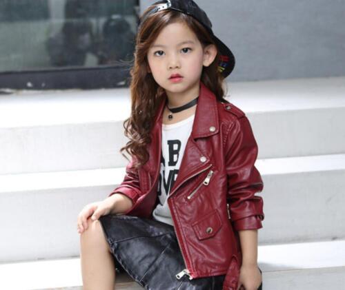 Kids Leather Motorcycle Jacket Cool Baby Girls Sport Biker Coat Outwear New