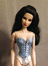 Front Lace Up Corset Bustier For Fashion Royalty NuFace Doll Silk Made To Order