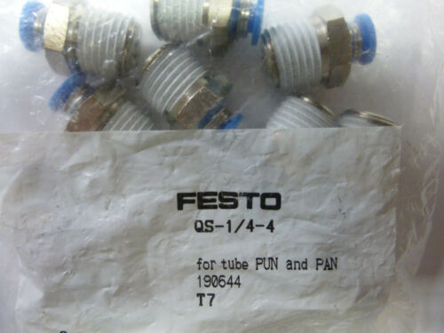 10x Festo qs-1//4-4 para competividad pan mangueras steckverschraubung 190644 nuevo embalaje original