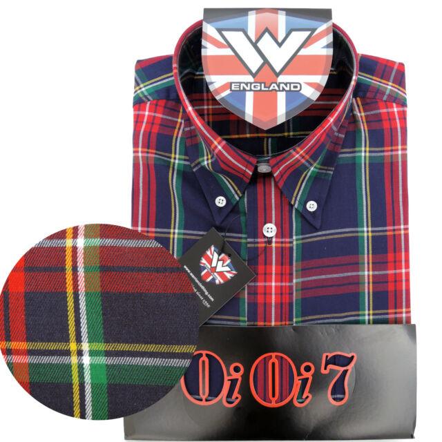 Warrior OiOi7 Short Sleeve Button Down Shirt PISTOLS Mod Skinhead Red Blue Green