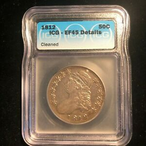 1812-Capped-Bust-Half-Dollar-50-Cents-ICG-EF45-Silver-Type-Coin