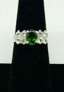 Chrome-Diopside-and-Topaz-Ring-AAA-Natural-gems-Size-7-6x8-mm-Oval-Solid-925